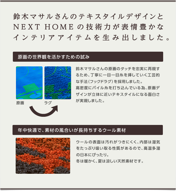 鈴木マサルさんのテキスタイルデザインとNEXT HOMEの技術力が表情豊かなインテリアアイテムを生み出しました。